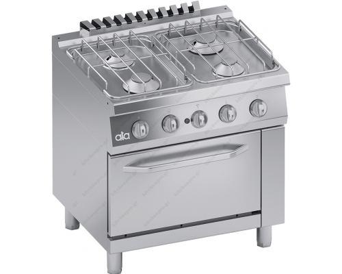 Επαγγελματική Κουζίνα Αερίου 4 Εστιών + Φούρνο Αερίου 1/1 GN S700 80 x 70 εκ. C2GCU10FF ATA srl Ιταλίας