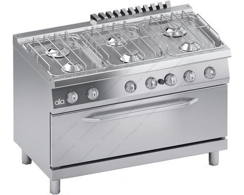 Επαγγελματική Κουζίνα Αερίου 6 Εστιών με Φούρνο Αερίου S700 120 x 70 εκ. C2GCU15FFM ATA srl Ιταλίας