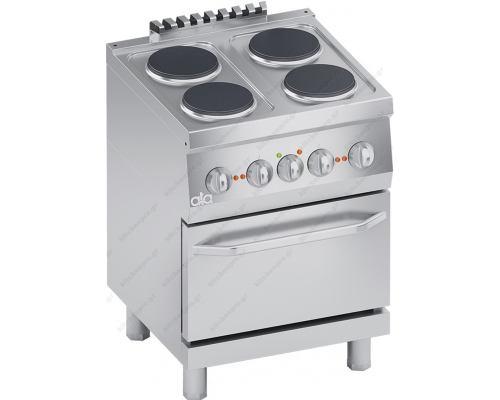 Επαγγελματική Ηλεκτρική Κουζίνα 4 Εστιών + Φούρνος 1/1 GN S600 60 x 60 εκ. K6ECU10FF ATA srl Ιταλίας