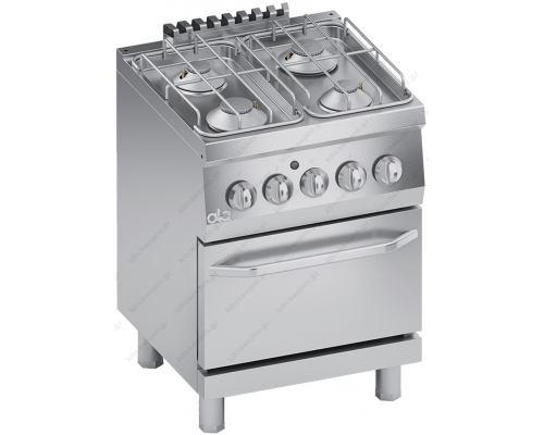 Επαγγελματική Κουζίνα Αερίου 4 Εστιών + Φούρνο Αερίου S600 60 x 60 εκ. K6GCU10FF ATA srl Ιταλίας