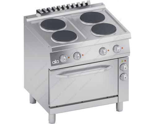 Επαγγελματική Ηλεκτρική Κουζίνα 4 Εστιών + Φούρνος Convection S700 80 x 70 εκ. K7ECU10FV ATA srl Ιταλίας