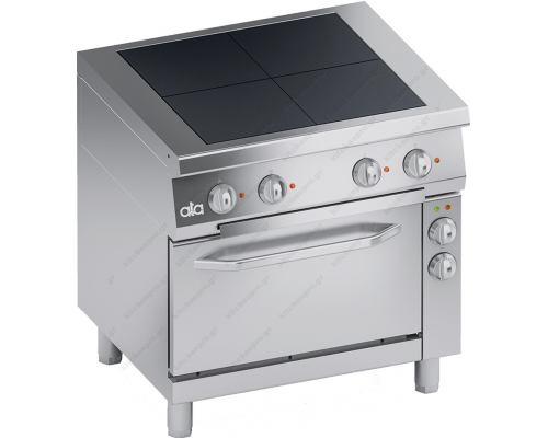 Κουζίνα Ηλεκτρική 4 Εστιών Ενιαία Πλάκα + Φούρνος Convection S700 80 x 70 εκ. K7ERU10FV ATA srl Ιταλίας