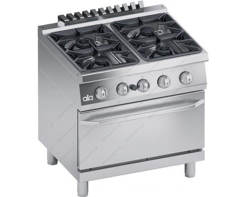 Επαγγελματική Κουζίνα 4 Εστιών Αερίου & Φούρνος Αερίου S700 80 x 70 εκ. ''High Power'' K7GCU10FFP ATA srl Ιταλίας