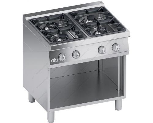 Επαγγελματική Κουζίνα Αερίου 4 Εστιών + Ερμάριο S700 80 x 70 εκ. High Power K7GCU10VVP ATA srl Ιταλίας
