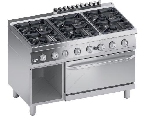 """Επαγγελματική Κουζίνα 6 Εστιών Αερίου + Φούρνος Αερίου + Αποθηκευτικό Ερμάριο S700 120 x 70 εκ. ''High Power"""" K7GCU15FFP ATA srl Ιταλίας"""