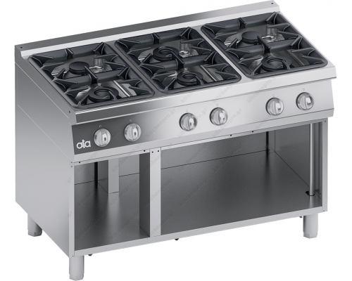 Επαγγελματική Κουζίνα Αερίου 6 Εστιών + Ερμάριο ''High Power'' S700 120 x 70 εκ. K7GCU15VVP ATA srl Ιταλίας