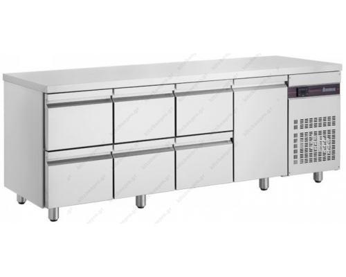 Επαγγελματικό Ψυγείο Πάγκος Συντήρηση 224 x 70 εκ. με 6 Συρτάρια & 1 Πόρτα PNR2229 INOMAK Ελλάδος