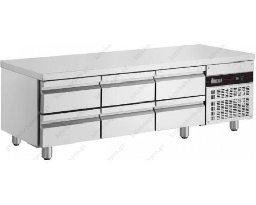 Επαγγελματικό Ψυγείο Πάγκος Χαμηλός 179 x 70 εκ. 6 Συρτάρια PWD333 INOMAK Eλλάδος
