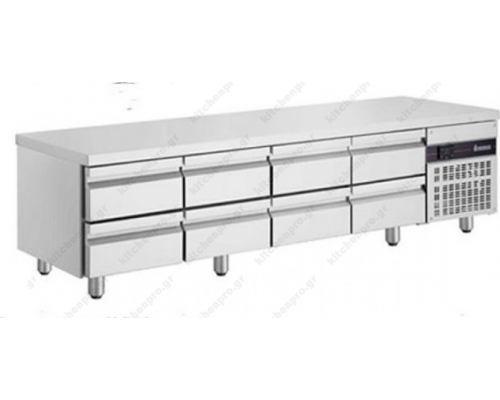 Επαγγελματικό Ψυγείο Πάγκος Χαμηλός 224 x 70 εκ. με 8 Συρτάρια PWN3333 INOMAK Ελλάδος