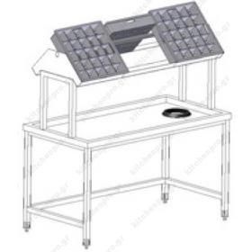 Τραπέζι Παραλαβής Απλύτων με Ράφι Παραλαβής 2 Όψεων 205 εκ