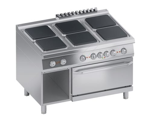 Επαγγελματική Ηλεκτρική Κουζίνα 6 Εστιών + Φούρνος 2/1 GN + Αποθηκευτικό Ερμάριο S900 120 x 90 εκ. K4ECUP15FF ATA srl Ιταλίας