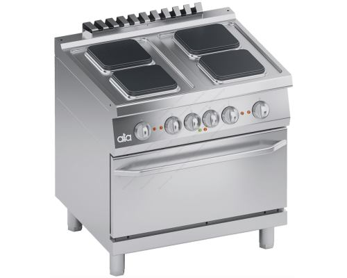 Επαγγελματική Hλεκτρική Κουζίνα 4 Εστιών + Φούρνο 2/1 GN S700 80 x 70 εκ. K7ECU10FFQ ATA srl Ιταλίας