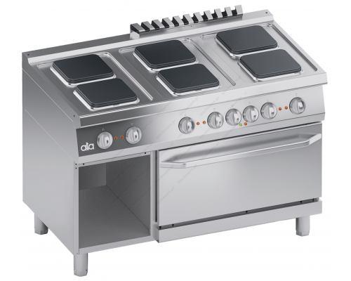Επαγγελματική Hλεκτρική Κουζίνα 6 Εστιών + Φούρνος 2/1 GN + Αποθηκευτικό Ερμάριο S700 120 x 70 εκ. K7ECU15FFQ ATA srl Ιταλίας