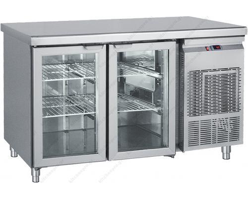 Επαγγελματικό Ψυγείο Πάγκος με 2 Κρυστάλλινες Πόρτες 139 x 70 εκ. GN 1/1 PGG139 BAMBAS Ελλάδος