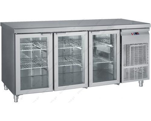 Επαγγελματικό Ψυγείο Πάγκος - Συντήρηση 3 Κρυστάλλινες Πόρτες 185 x 70 εκ. GN 1/1 PGG185 BAMBAS Ελλάδος