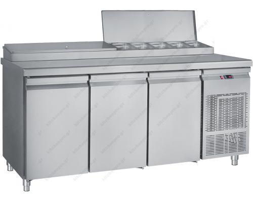 Ψυγείο Πίτσας και Σαλατών - Συντήρηση 185 x 70 εκ. 3 Πόρτες GN 1/4 PIMG185 BAMBAS Ελλάδος