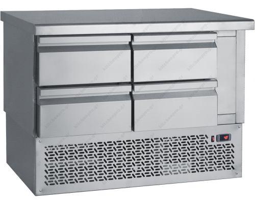 Επαγγελματικό Ψυγείο Πάγκος - Συντήρηση 110 x 70 εκ. 4 Συρτάρια GN 1/1 PS110 BAMBAS Ελλάδος