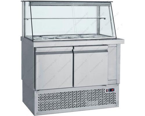 Επαγγελματικό Ψυγείο Τόστ - Σαλατών 110 x 70 εκ. 2 Πόρτες & Βιτρίνα GN 1/4 SM110 BAMBAS Ελλάδος