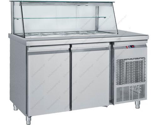 Επαγγελματικό Ψυγείο Τόστ - Σαλατών 155 x 70 εκ. 2 Πόρτες & Bιτρίνα GN 1/4 SM155 BAMBAS Ελλάδος