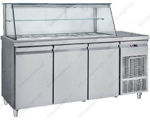 Επαγγελματικό Ψυγείο Τόστ - Σαλατών 185 x 70 εκ. 3 Πόρτες & Bιτρίνα GN 1/4 SM185 BAMBAS Ελλάδος