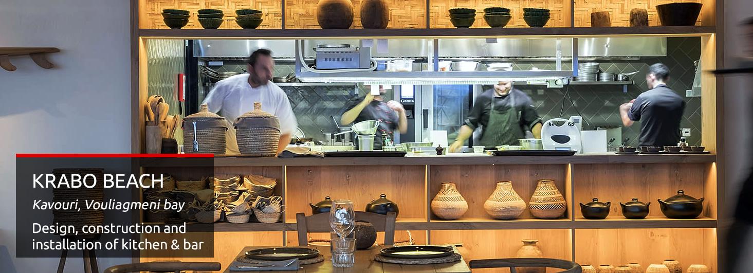 [Σχεδιασμός & κατασκευή επαγγελματικής κουζίνας στο Krabo Beach Καβούρι Βουλιαγμένης από την KitchenPRO - Εξοπλισμοί μαζικής εστίασης]